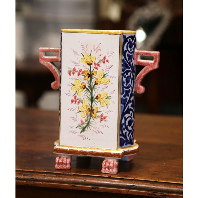 Early 20th Century Early 20th Century French Hand-painted Faience Vase Signed Hb Quimper For Sale - Image 5 of 9