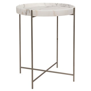 Chico Side Table, Antique Silver, Metal and Stone For Sale