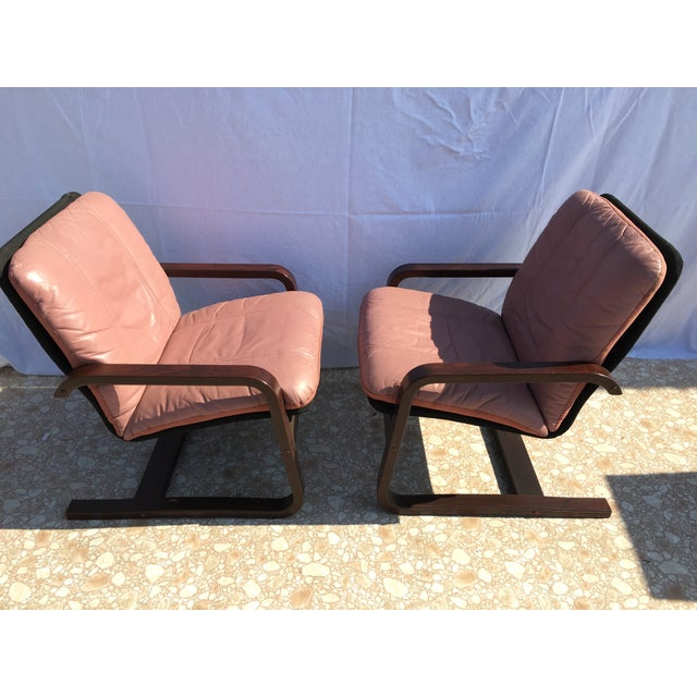 Blush Mid-Century Bentwood Leather Chairs - A Pair - Image 4 of 10