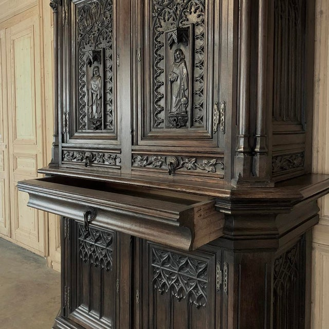 Brown 19th Century French Gothic Buffet a Deux Corps ~ Cabinet For Sale - Image 8 of 13