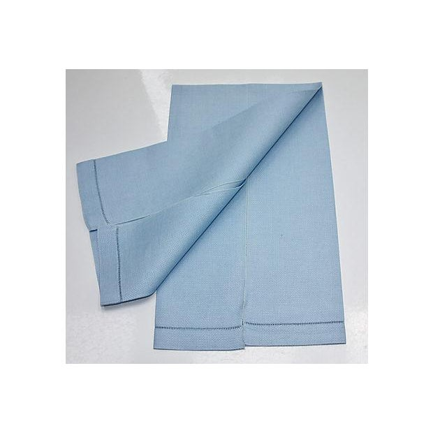 Contemporary Vintage Blue Linen Hand Towel For Sale - Image 3 of 3