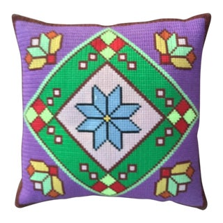 Vibrant Square Needlepoint Pillow Cover For Sale