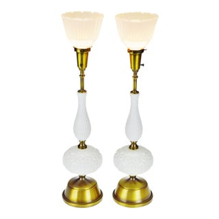 Mid Century Milk Glass Rembrandt Torchiere Table Lamps - a Pair For Sale