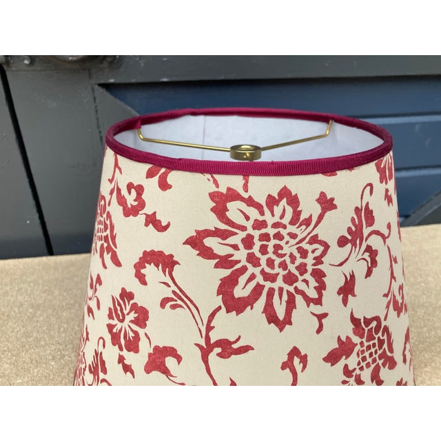 """A lampshade handmade made from a vintage Brunschwig & Fils printed cotton. Measurements: top 7"""" bottom 11"""" side 8"""""""