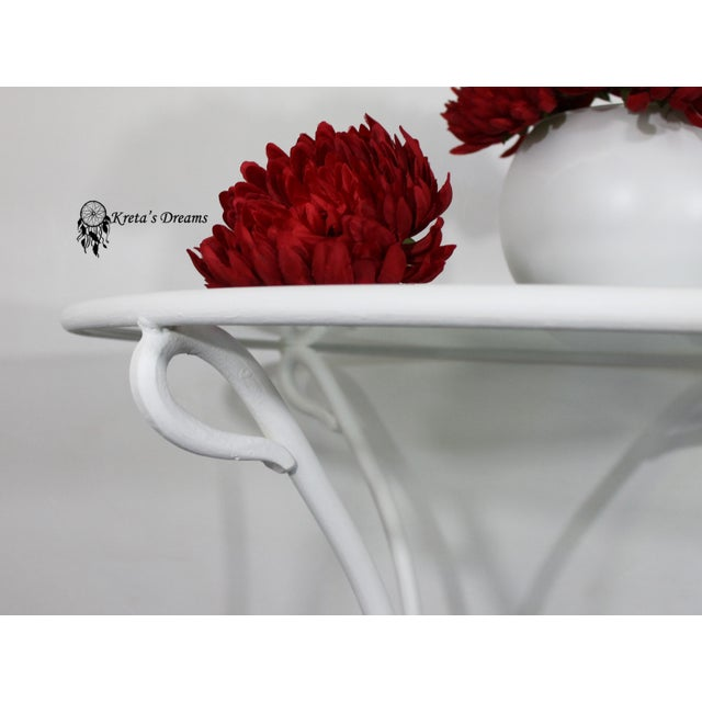 Art Deco Vintage White Metal Iron Glass Dining Table For Sale - Image 3 of 8