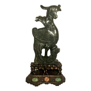 """Antique Chinese Carved Jade Figure of a Phoenix, """"Freedom, Eternal Life."""" For Sale"""