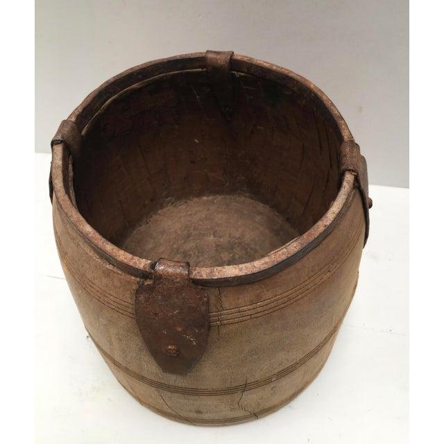 Metal Antique Primitive Handmade Wood and Metal Grain Bucket For Sale - Image 7 of 9