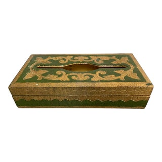 Vintage Italian Florentine Green Gilt Tissue Box Cover For Sale