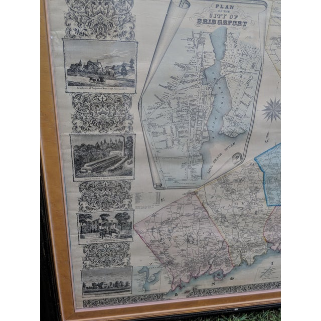 Antique Framed Map of Fairfield County, Ct