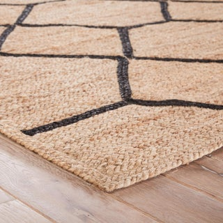 Nikki Chu by Jaipur Living Aten Natural Trellis Beige / Black Area Rug - 8′ × 10′ Preview