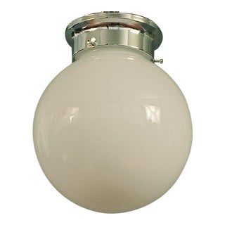 1940s White Glass Ball Flush Mount Ceiling Fixture With New Chromed Fitter For Sale