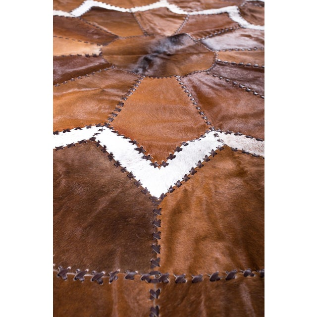 European Design Patchwork Cowhide Rug - 6' X 6' / Hair-On-Hide / Brand New - Image 4 of 10