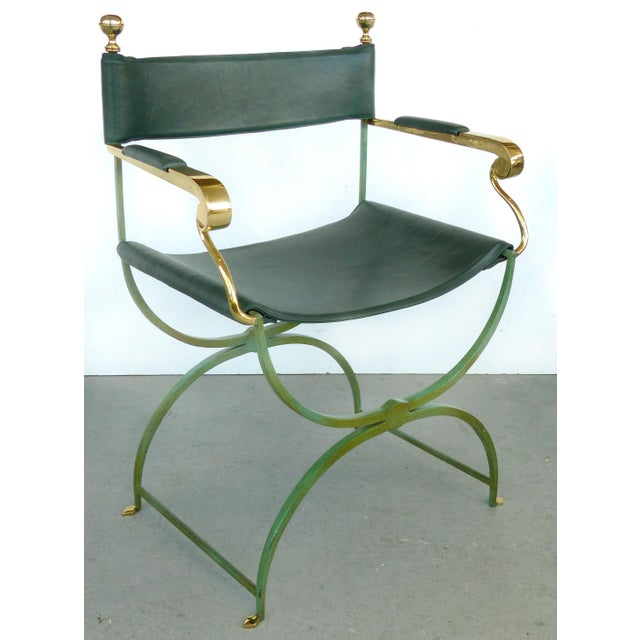 Mid-Century Modern Brass Director's Chairs by Valenti, Spain- 4 Pairs Available For Sale - Image 3 of 11