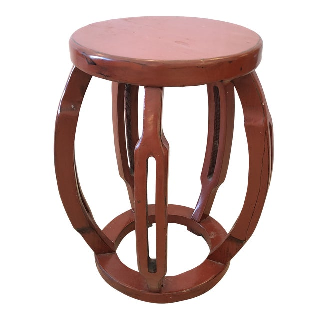 Red Chinese Carved Wood Garden Seat Side Table For Sale