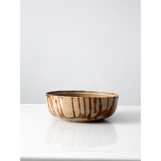 1970s Brown Glazed Pottery Bowl - Image 4 of 8