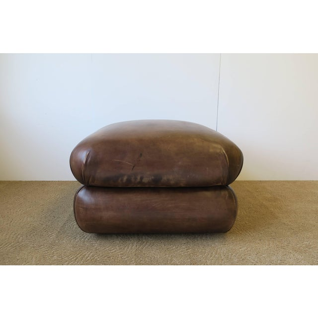 Brown Postmodern Brown Leather Ottoman by George Smith, Ca. 1990s For Sale - Image 8 of 11