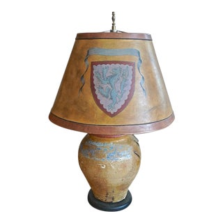 19th Century French Provençe Pot Converted Table Lamp With Leather Shade For Sale