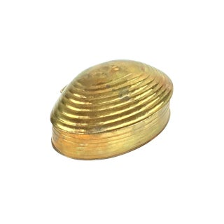 Solid Brass Clam Shell Box Circa 1960s For Sale