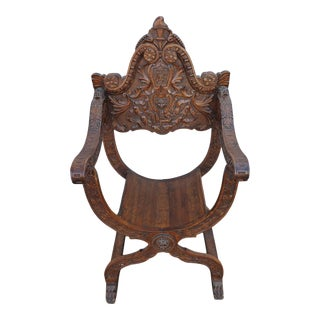 19th Century Italian Savonarola Desk Chair With Lions Heads and Hairy Paw Feet For Sale