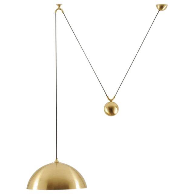 Duos 36 Pendant Lamp With Side Pull in Brass by Florian Schulz, Germany For Sale
