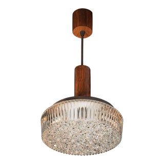 Mid-Century Modern Hand Rubbed Walnut and Textured Glass Pendant For Sale