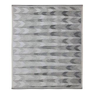 Large Modern Scandinavian/Swedish Flat-Weave Geometric Design Rug For Sale