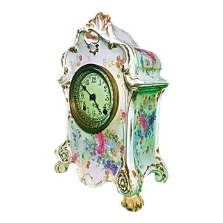 Antique Royal Bonn Porcelain Gold Gilt Mantle Clock