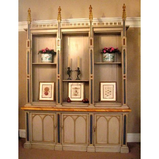 An English late 19th century neo-gothic bookcase. Repainted.