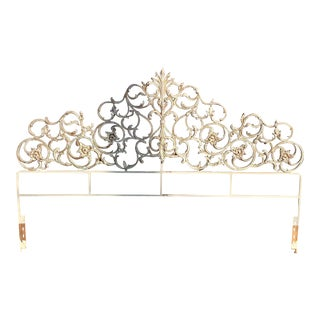 Vintage Hollywood Regency Style King Size Headboard For Sale