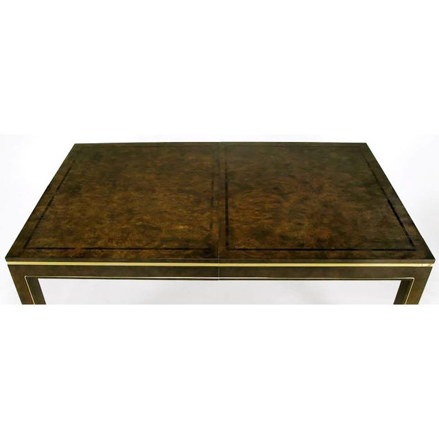 Mastercraft Amboyna Burl and Brass Parsons Leg Dining Table For Sale In Chicago - Image 6 of 7