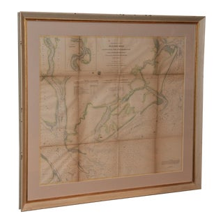 1873 Survey Map of the Beaufort River, Beaufort, SC, Framed For Sale