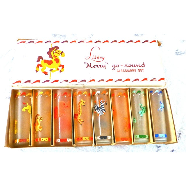 Orange 1950's Libbey Merry-Go-Round Glasses - Set of 8 For Sale - Image 8 of 8