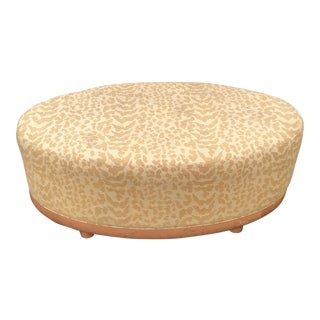 Mid Century Modern Gold Leopard Print Light Wood Ottoman