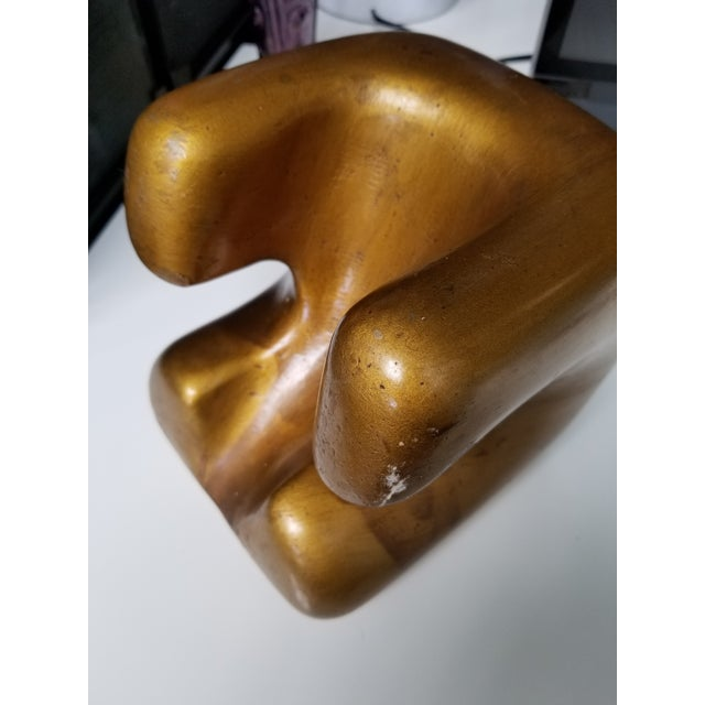 Carved Gold Wooden Sculpture or Bookend For Sale - Image 4 of 10