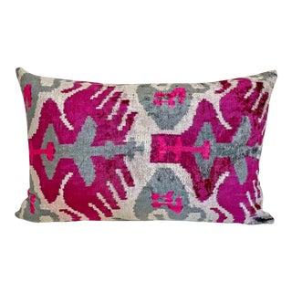 Silk Velvet Ikat Accent Pillow For Sale