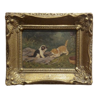 """Playful Kittens"" German Oil Painting, 1930s For Sale"