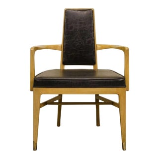 Late 20th Century White of Mebane Black Naugahyde and Pewter Dining Arm Chair For Sale