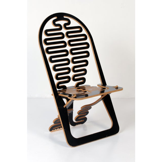Black Lacquer Lumbarest Puzzle Chair by Gregg Fleischman For Sale - Image 9 of 9