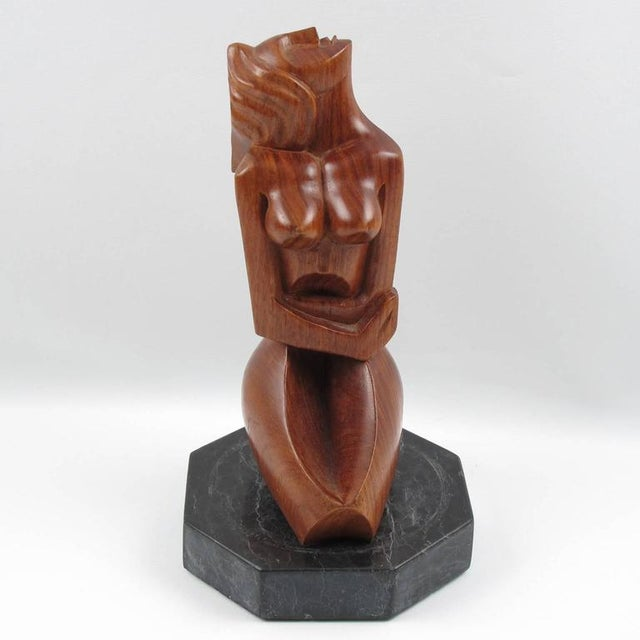 Spectacular Mid-Century modernist wood sculpture, France, 1950s. Featuring a crouched woman in Cubist style carving. Note...