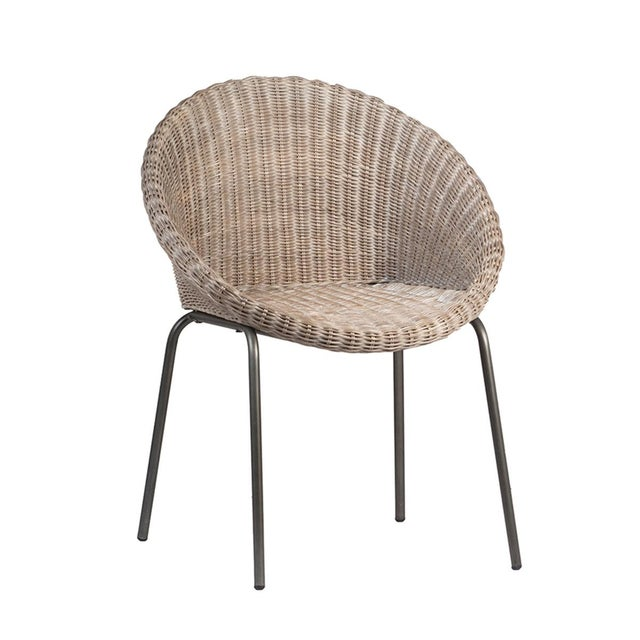 Contemporary Grey Wash Rattan Dining Chair For Sale - Image 3 of 3