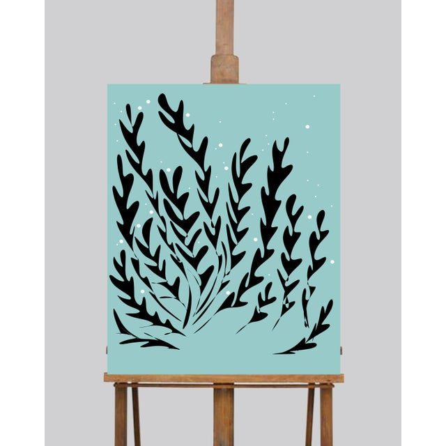 This is a series of three 11 x 14's prints on canvas with seaweed silhouettes in a sea blue background. Artwork by me,...