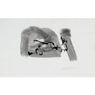 """Gwen Stone """"Conversation"""" Black Ink Wash Abstract, 20th Century For Sale"""