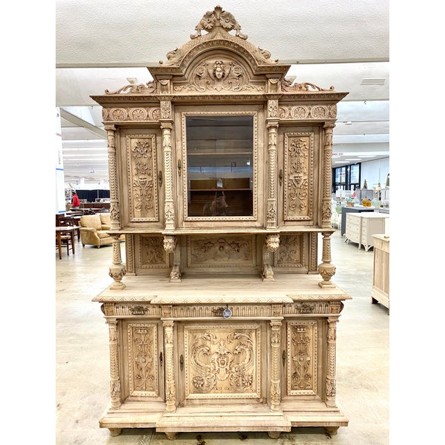 19th Century French Renaissance Bleached Walnut Cabinet For Sale - Image 13 of 13