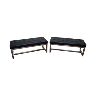 Mid-Century Leather & Chrome Benches - A Pair For Sale