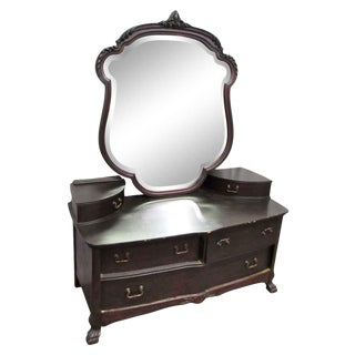 Mahogany 6-Drawer Dresser With Mirror For Sale