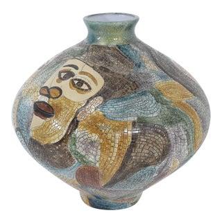 Large Pablo Picasso Mosaic Ceramic Vase For Sale