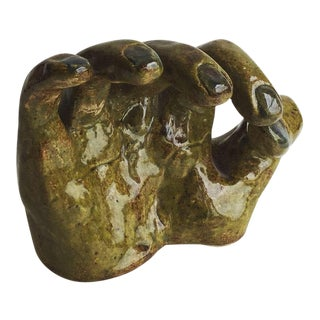 Vintage Mid-Century Handmade Ceramic Hand Sculpture For Sale