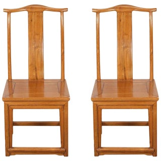 Vintage Mid Century Ming Style High Back Chinese Chairs- a Pair For Sale