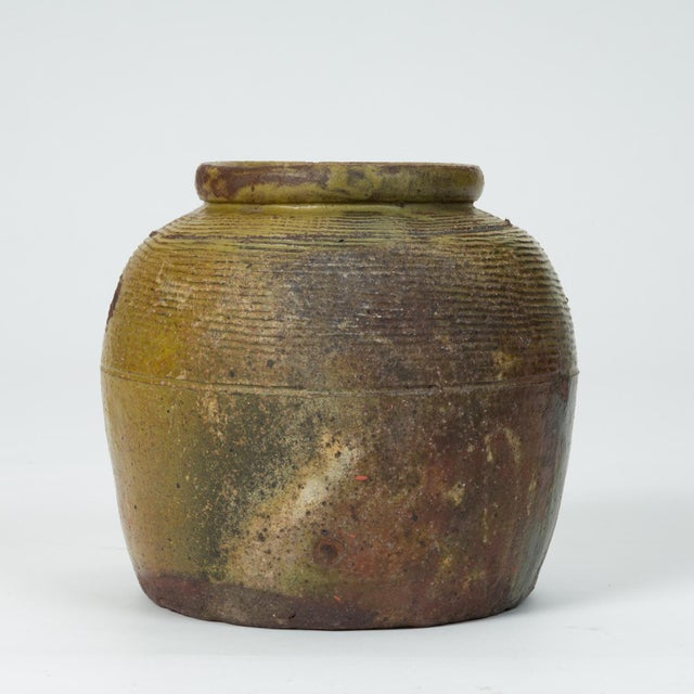 Hand-Thrown Garden Pot With Olive Green Glaze For Sale - Image 11 of 11
