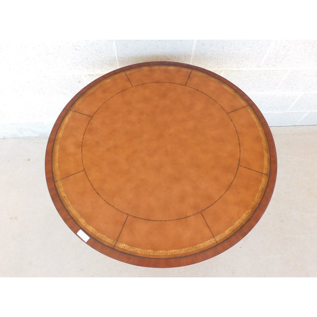 """English Traditional Ethan Allen Mahogany Tooled Leather Top Rent Table 35.5""""w For Sale - Image 3 of 10"""